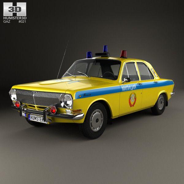 GAZ 24 Volga Militia 1967 3d model from humster3d.com. Price: $75