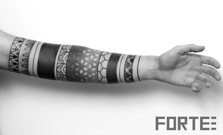 Sacred Geometry Tattoo, lower arm sleeve - stunning geometric design