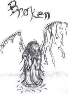 Broken Angel Wings Drawings | broken paper angel by nefa aria traditional art drawings fantasy 2010 ...