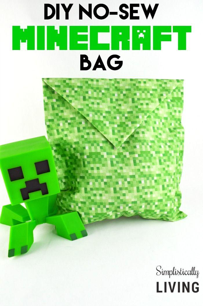 DIY no-sew minecraft creeper bag, Minecraft Crafts, Easy Minecraft DIY
