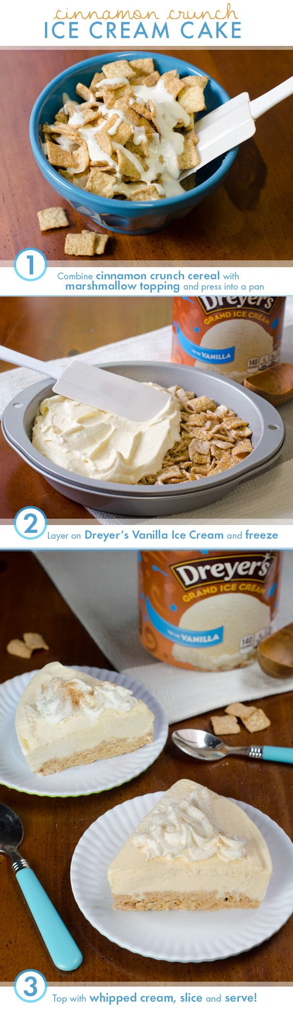 This simple no-bake cake brings together two of your favorite childhood flavors: cinnamon crunch cereal and ice cream! Just mix together the cereal and marshmallow topping in a bowl and press into a pan until halfway full. Add a thick layer of vanilla ice cream, and top with a dollop of whipped cream and a sprinkle of cinnamon!