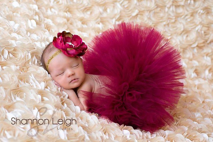 Sweet Christmas Cranberry Tutu Newborn Tutu Custom Made With Matching Vintage Style Flower Headband Stunning Newborn Photo Prop by A Sweet Sweet Boutique
