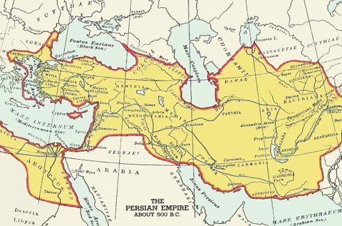 The Persian Empire  The Achaemenids were the first line of Persian rulers, founded by the chieftain Achaemenes (Hakaimanish) around 700 BCE. Around 653 BCE the Medes came under the domination of the Scythians, and the son of Achaemenes, a certain Teispes, seems to have led the nomadic Persians to settle in southern Iran around this time -- eventually establishing the first organized Persian state in the important region of Anshan.