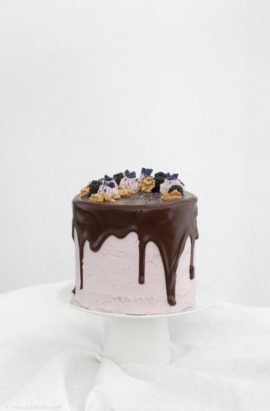 walnut chocOlate cake with blackberry swiss meringue buttercream and candied violets