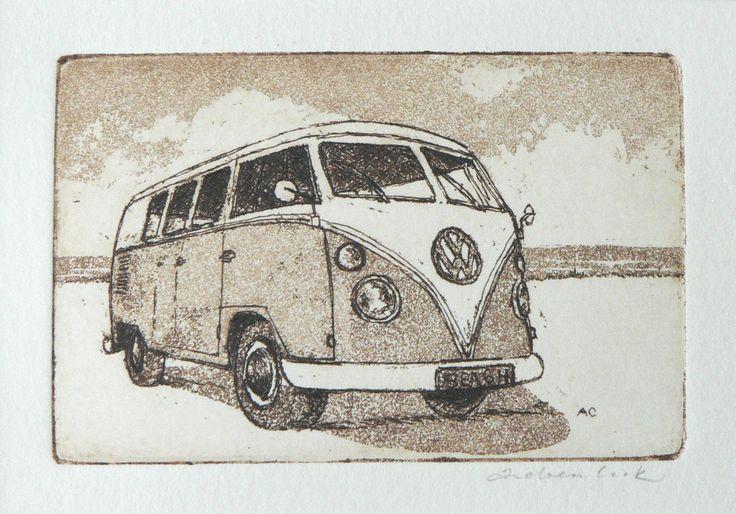 original etching and aquatint of a VW camper van