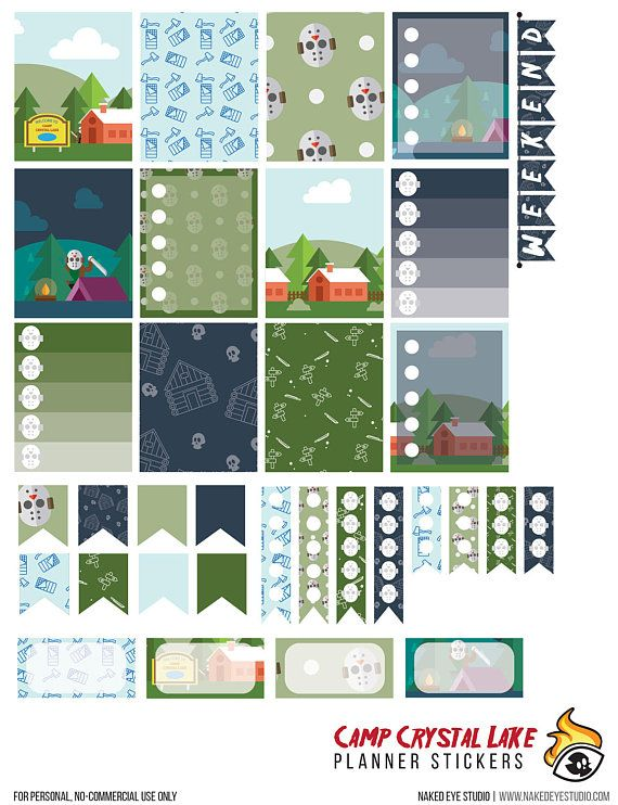 Friday the 13th Downloadable Weekly Planner Sticker Kit
