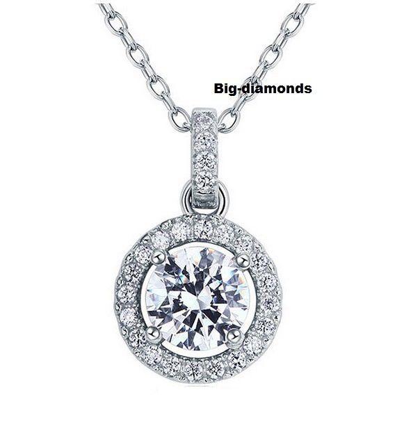 """14K Gold~925 Sterling Silver Fancy Round Diamond Pendant on 17"""" Necklace #BigDiamonds #Pendant"""