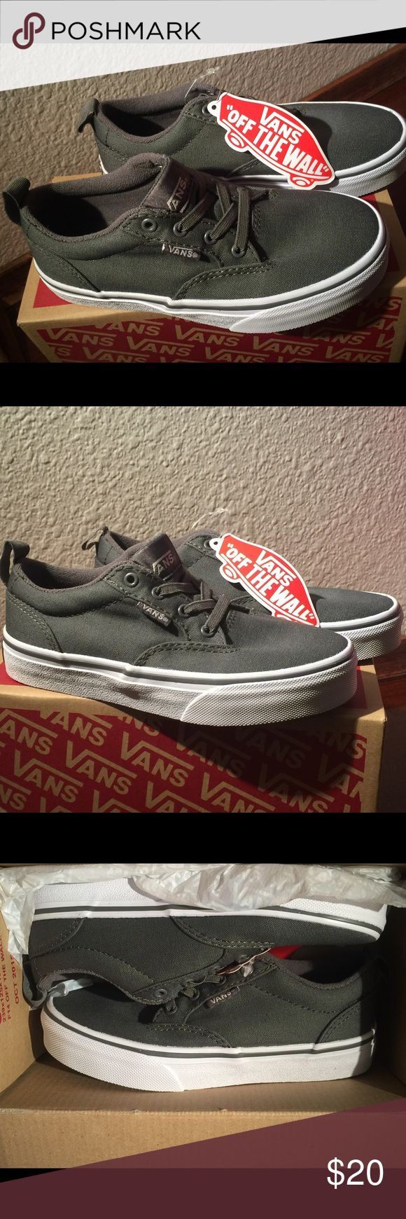 Brand new in box boys vans. Slip on style. Features slip on laces! Gray on great new in box with tags! Offers welcome. Vans Shoes Sneakers