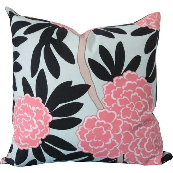 Designer Decorative Pillow Cover-Pink and Navy Floral-Asian-Accent... ($35) ❤ liked on Polyvore featuring home, home decor, throw pillows, floral throw pillows, asian home decor, navy accent pillows, cotton throw pillows and navy blue throw pillows