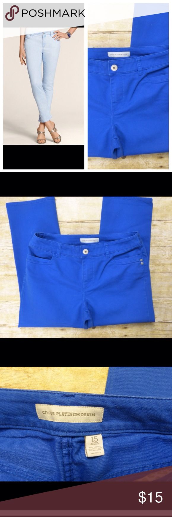"""Chicos Platinum Denim Royal Blue Skimmer Jeans Chicos Platinum Denim Royal Blue Slimmer Jeans Size 1.5 Regular Size 10  Appear new  78% cotton, 28% poly and 2% spandex """"Skimmer"""" 9"""" rise 16"""" across the waist  23.5"""" inseam Chico's Jeans Ankle & Cropped"""