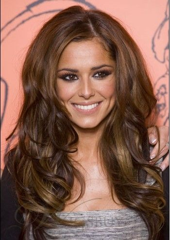 Cheryl Cole Custom Soft Charming Hand Tied About 20 Inches Long Wavy Mixed Color Lace Wig