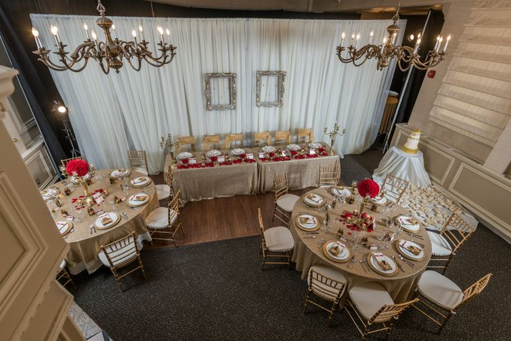 Bespoke The Wedding Event, Regal Red & Gold Wedding, Reception Set up, Wedding Florals, Gold Sequin Table Cloths, Gold Cutlery, Gold Candelabra Centerpieces, Vintage Chandeliers, Floating Frames, Wedding Decor