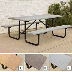 """Recycled Plastic Tables with Steel Frames - Gray by C&H. $1002.00. Heavyweight Recycled Plastic Tables with Steel Frames require no maintenance or painting. 62–67% post-industrial recycled plastic planks. 15/8"""" O.D. steel tube frame is available in durable black powder coat or galvanized finish. 50-yr. limited warranty against rot, termites, and corrosion. NOTE: Gray planks/black powder coat frame shown."""