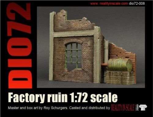 This is a Ruined Factory including full colour enamel signs and clear sheet. Kit contains 4 highly detailed resin parts. Comes packed in a handy cardboard box.