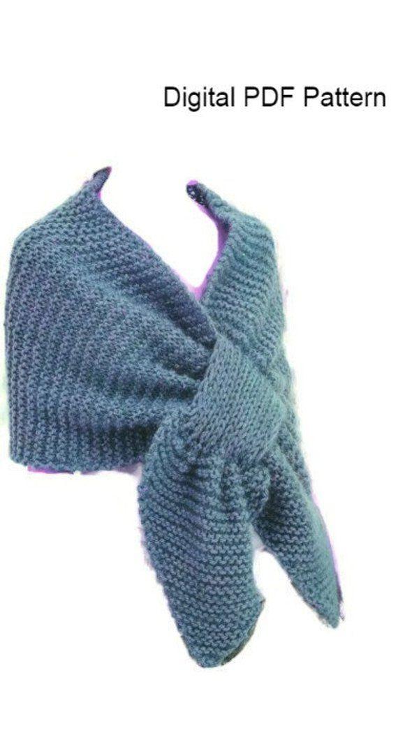 Knit Stole Shoulder Wrap Shawl Pattern Easy Knitting Pdf Pattern