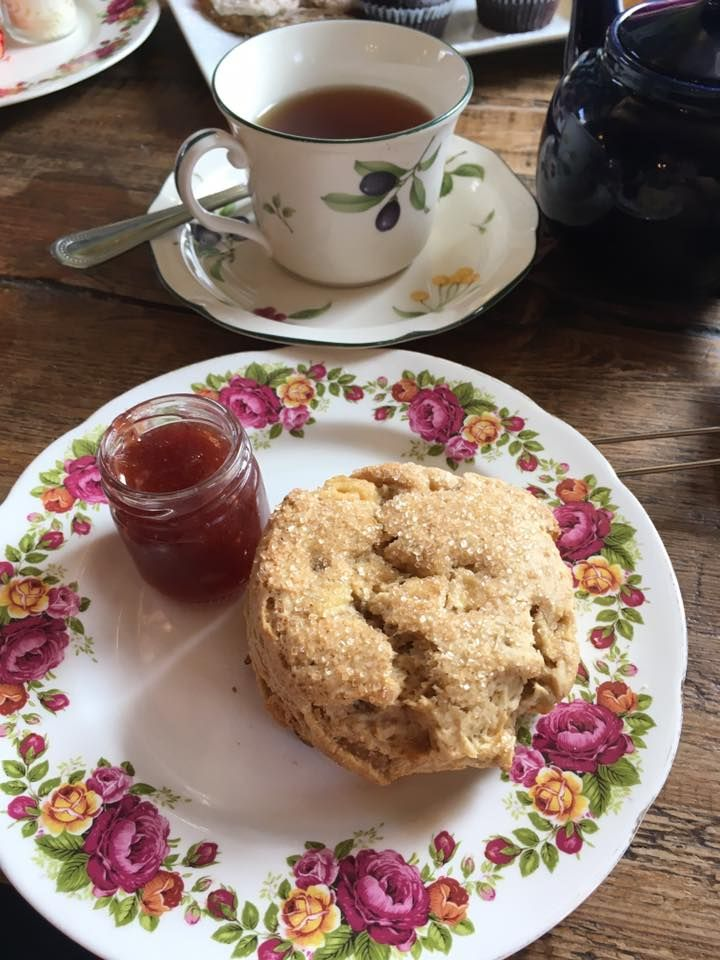 Apple & Ginger Scone with Strawberry Preserves and a good cup of tea!