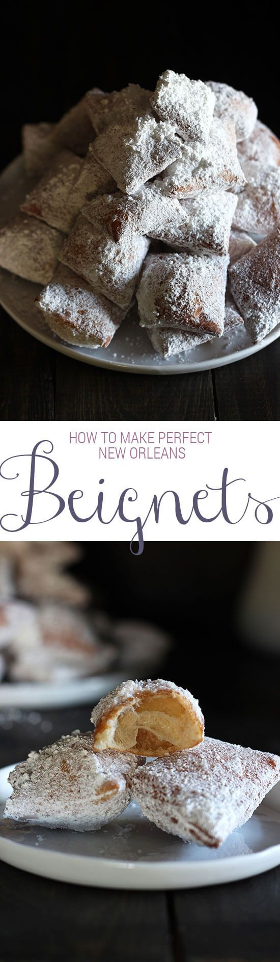 Follow for more>Make PERFECT New Orleans-style beignets right at home! SO SO GOOD. Can be made ahead of time too!