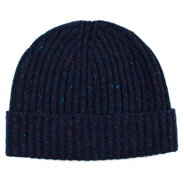 Ribbed Donegal Lambswool Hat - Blue - Knitted Hats - Accessories