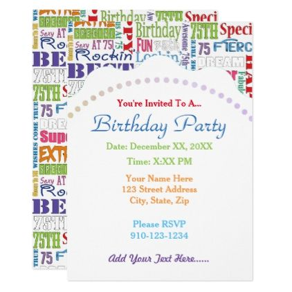 Unique And Special 75th Birthday Party Gifts Card - birthday cards invitations party diy personalize customize celebration