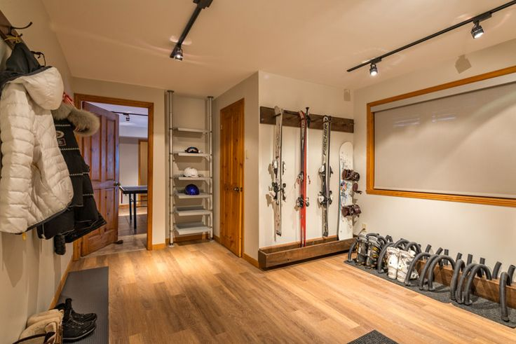 Mud Room- Ski Storage, Drying Racks, Boot Racks, in Mountain Living Log Home Luxury chalet rentals with Mountain Living.