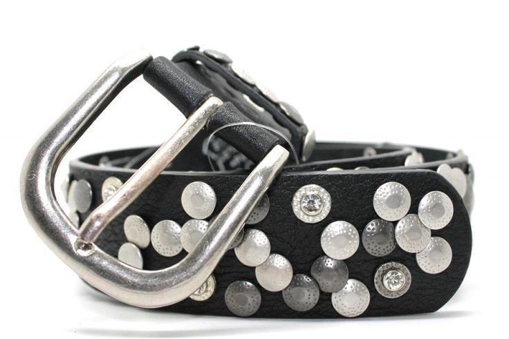 Leren riem zwart studs | Riemen met studs | Spijkerbroek & Zo €24,95!