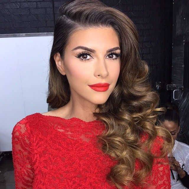 lillyghalichi's photo on Instagram Side part loose curls red lip nude makeup