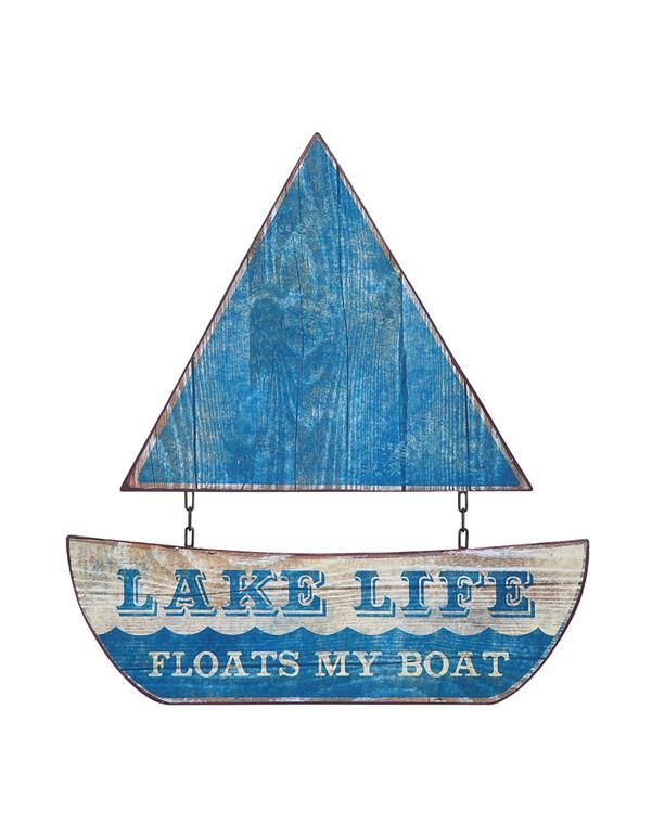 "Hanging this sea blue rustic metal sailboat sign on your lake house wall will float your boat! Its scale makes it perfect for a small spot in the cabin or cottage. Measures 15-1/4""W x 16-1/2""H."