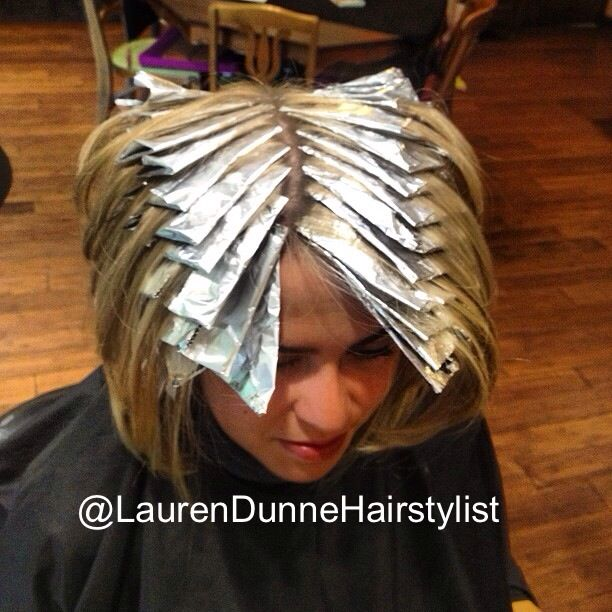 Lots of foil! Getting ready for the Spring with some blonde highlights! Herringbone pattern by @laurendunnehairstylist at The Secret Garden Spa in Staten Island, NY.