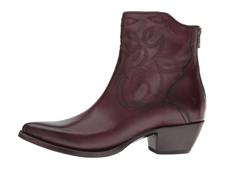 Frye Shane Embroidered Short Cowboy Boots Bordeaux Smooth Veg Calf