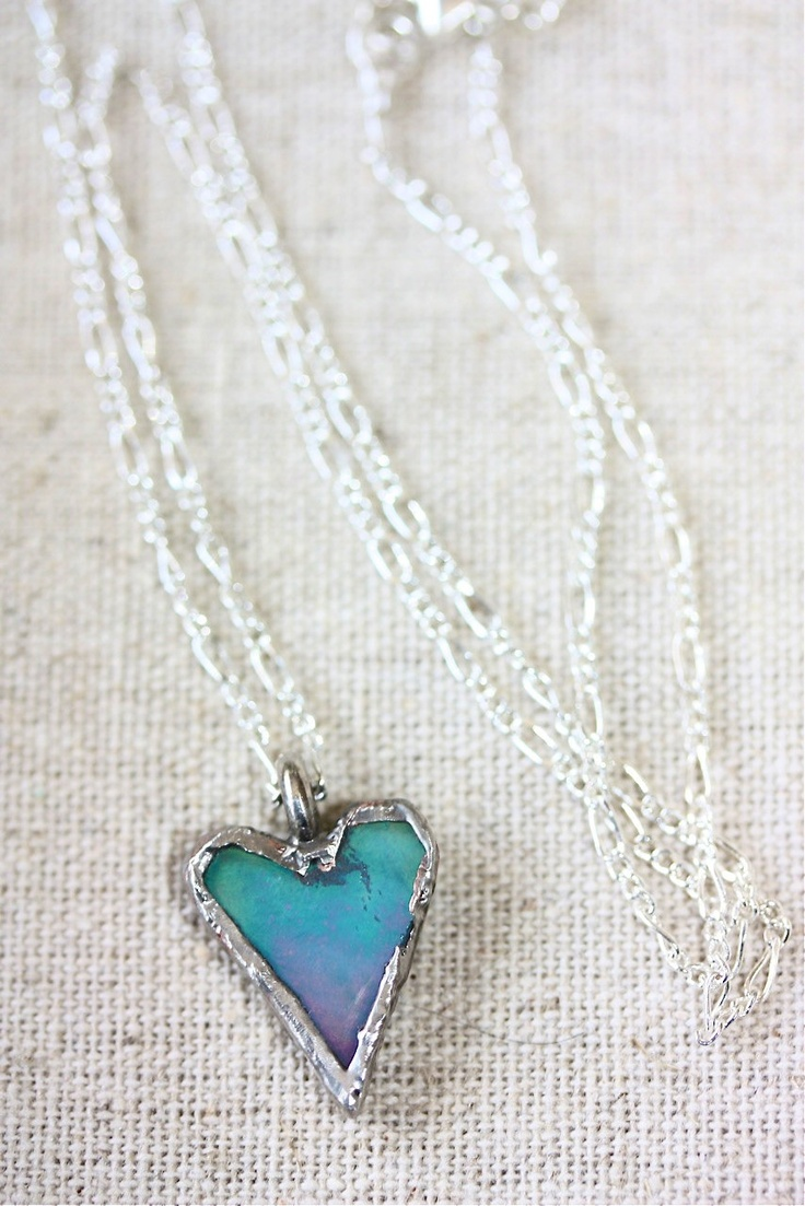Turquoise Stained Glass Heart Necklace. $25.00, via Etsy.