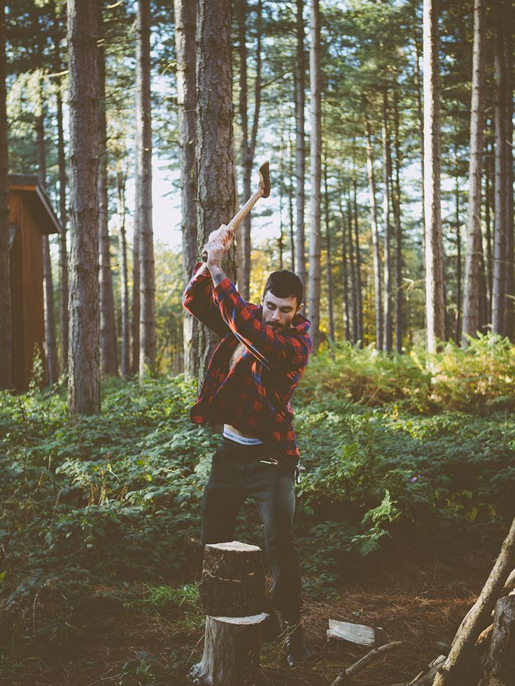 flannel and wood chopping