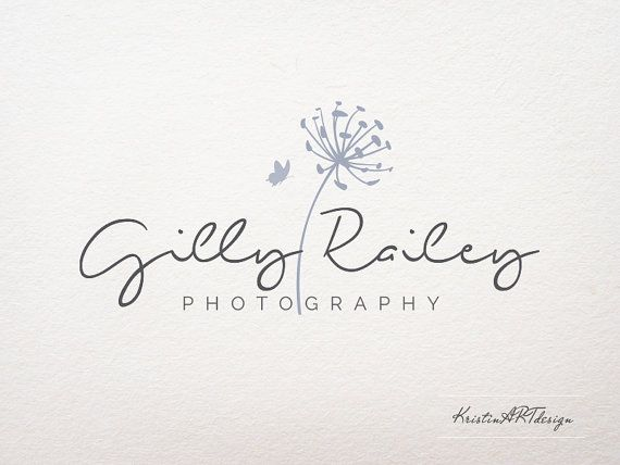 I like the delicate nature of this one. Photography Logo - Butterfly logo - Premade Photography Logos- Flower logo-Dandelion logo-Watermark 199
