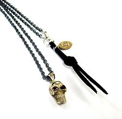 Single Brass Skull on Silver Necklace