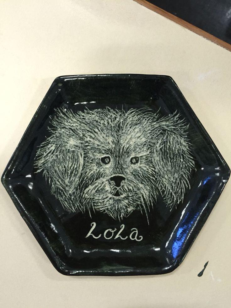 Sgraffito small plate of my dog Lola