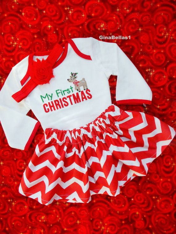 baby girl Christmas outfit first chevron onesie dress skirt 1st Santa Baby Rudolph reindeer Frosty snowman bow newborn 3 6 9 12 m toddler on Etsy, $35.50