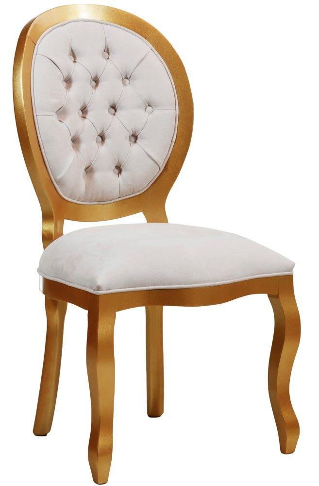 Cadeira Medalhão III Lisa com Capitonê - Dourada + Cores                                                                                                                                                                                 Mais