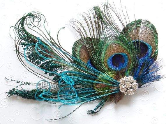 BRIDAL HAIR PIECE bridesmaid accessories Peacock by WeeGardens, $49.00