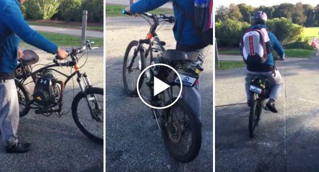 Jovem Transforma Bicicleta Em Motorizada Usando o Motor De Um Corta-Relvas http://www.funco.biz/jovem-transforma-bicicleta-motorizada-usando-motor-um-corta-relvas/