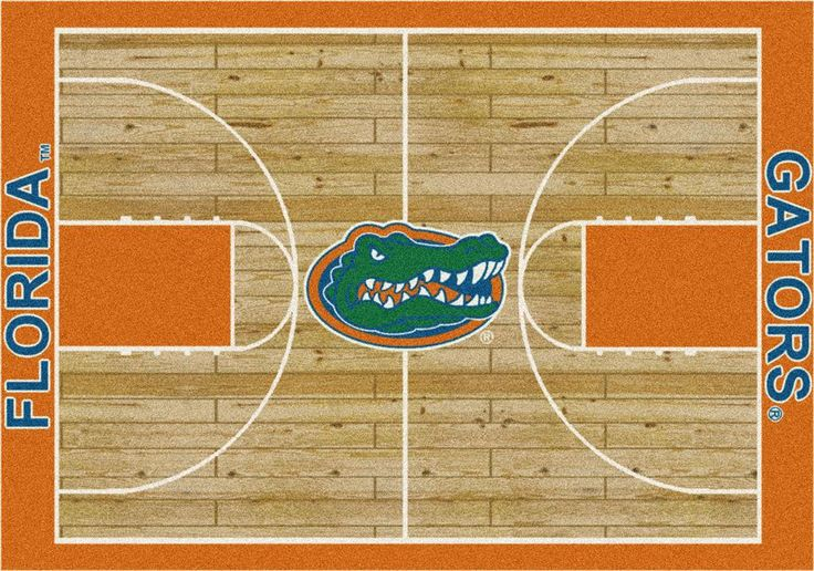 Florida Gators Home Court Rug. This Gators rug features detailed hardwoods with the team name on the baselines. The Florida mascot is boldly on display at centercourt. These rugs are made to order in