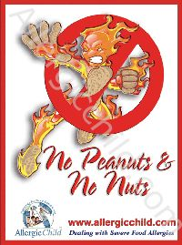 9 x 12 laminated No Peanuts & No Nuts Poster - great for Middle School - and for those managing a peanut allergy and a nut allergy