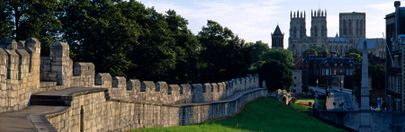 England   York  North Yorkshire  York city walls, built by the Romans and used to quarantine the city against the Black Death in the middle-ages, have been defending York for two thousand years-York,England.