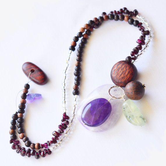 One Strand  Violet Confetti Necklace  Handmade by skyepiece