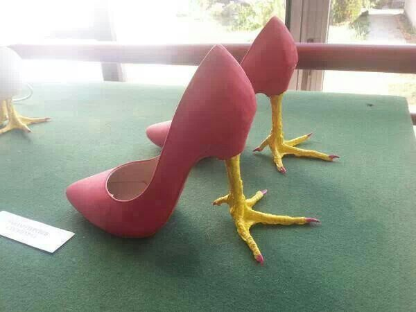 "I would be ""Too Chicken"" to wear these shoes anywhere. Lol"