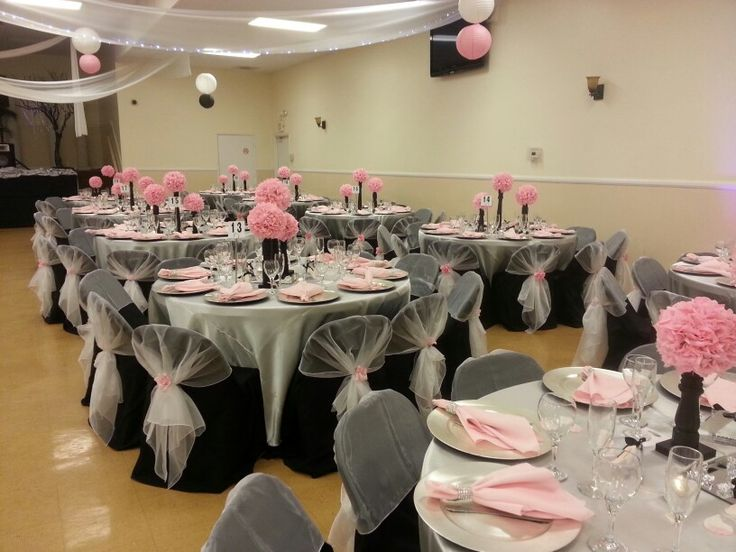 Silver Satin Table Cover, Pink Napkins With Rhinestone Holder, Black Chair  Covers And Half