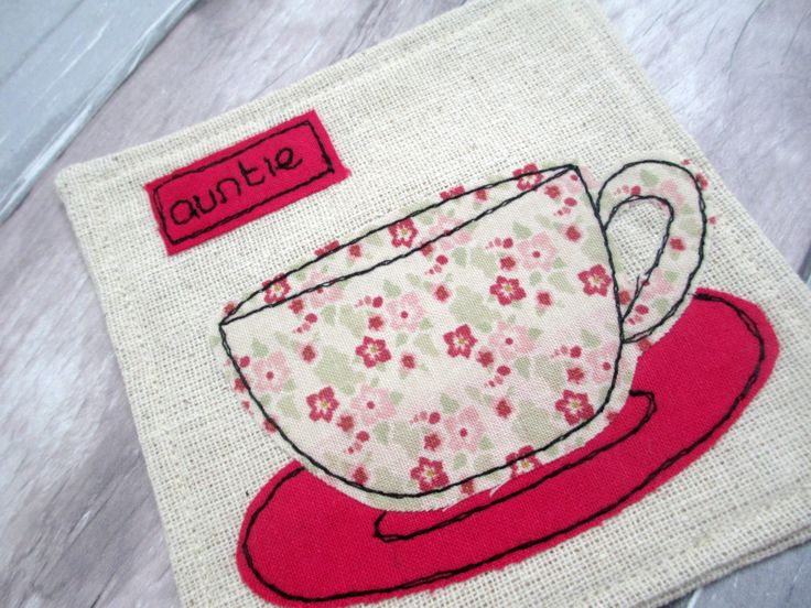 Personalised Drinks Coaster - Gift for Auntie - Pink Floral Tea Cup - Fabric Appliqué Coaster - Linen Drinks Coaster - Gift for Her by TheCornishCoasterCo on Etsy