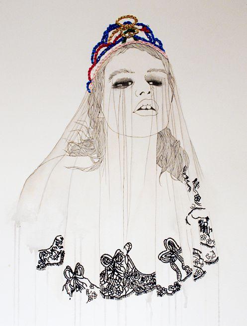 fashion watercolour pencil pens needles embroidery by Izziyana Suhaimi