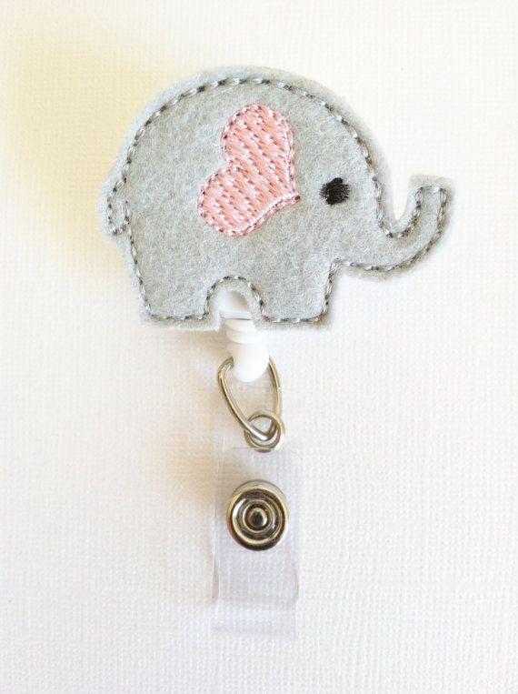 Elephant Felt Badge Reel  Retractable ID by SimplyReelDesigns, $6.00