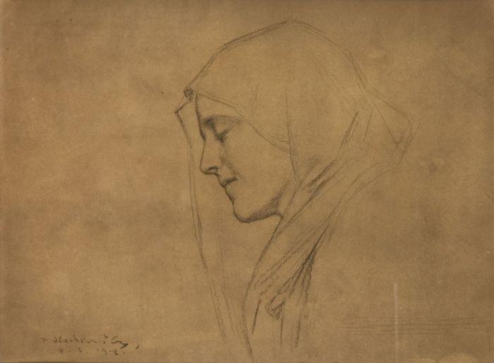 Piotr Stachiewicz - Szkic do portretu Madonny, 1908 r.