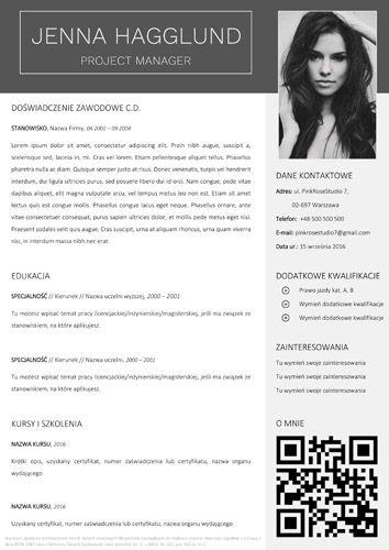 Szablon cv Jenna, druga strona z miejscem na fotokod. Do pobrania razem z szablonem listu motywacyjnego i referencji tutaj: http://bestcv.eu/szablon-cv-list-motywacyjny-referencje-jenna