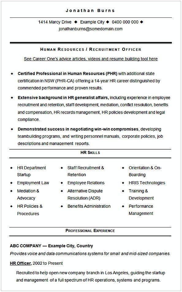 resume for hr job fresher